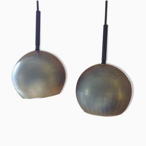 Brass Ceiling Lamps, 1950s, Set of 2