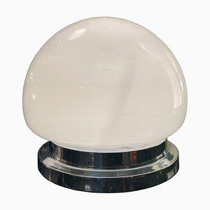 Lampada da tavolo vintage in vetro opalino e placcata in cromo, Italia, anni '70