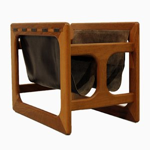 Large Danish Teak and Leather Magazine Rack from Salin Mobler, 1960s