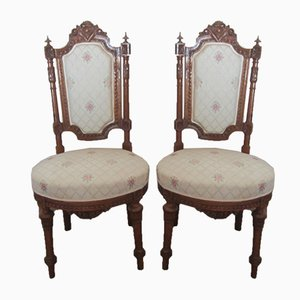 Antique French Carved Walnut Dining Chairs, Set of 2