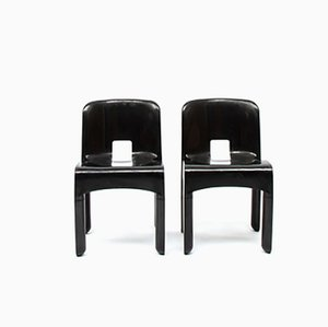 Black Plastic No. 4867 Dining Chairs by Joe Colombo for Kartell, 1967, Set of 2