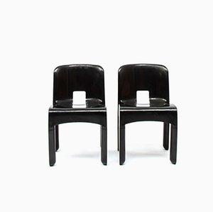 Schwarze Nr. 4867 Esszimmerstühle aus Kunststoff von Joe Colombo für Kartell, 1967, 2er Set