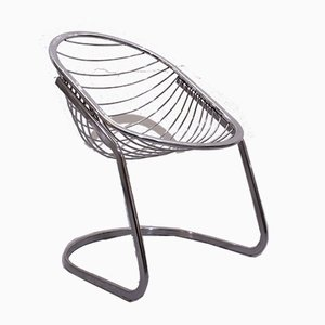 Vintage Italian Chromium Egg Lounge Chair by Gastone Rinaldi for Rima, 1970s