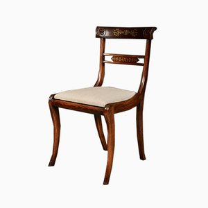 Antique Regency Brass Inlaid Rosewood Dining Chairs, Set of 8