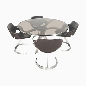 Mid-Century Esstisch & Stühle Set von Boris Tabacoff, 1970er, 5er Set