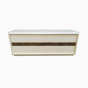 White Lacquered Wood and Bronze Dresser by Luciano Frigerio for Frigerio di Desio, 1970s