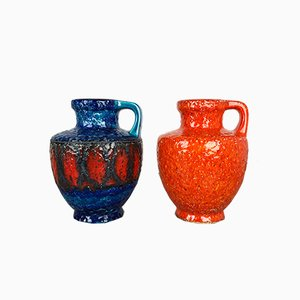 Mid-Century German Multicolor Fat Lava Vases from Bay Keramik, 1960s, Set of 2