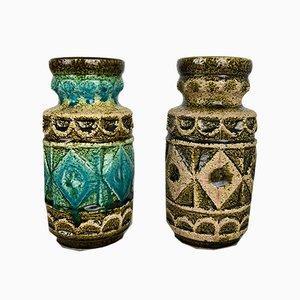 Mid-Century German Multicolor Floor Vases from Bay Keramik, 1960s, Set of 2