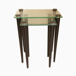 Mid-Century Italian Glass and Black Wood Nesting Tables, 1960s