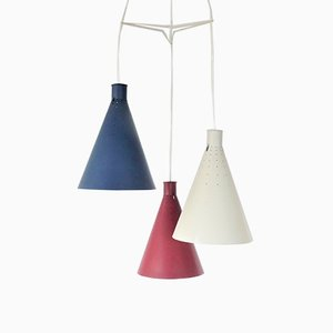 Mid-Century Swedish Conical Pendant Lamps by Alf Svensson for Bergboms, 1950s, Set of 3