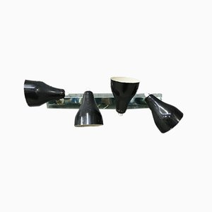 Mid-Century Black Brass and Glass Sconce by Angelo Ostuni for Oluce, 1960s