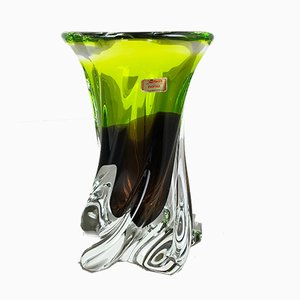 Large Vintage German Green Brown Crystal Glass Vase from Joska, 1970s