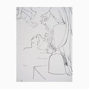 Saint-Pierre Marche sur les Eaux Lithographie von Jean Cocteau