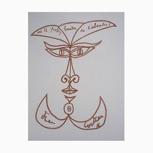 Lithographie Visage par Jean Cocteau