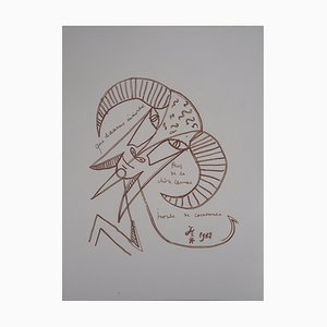 La Chèvre Lithograph by Jean Cocteau