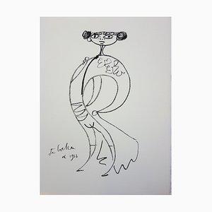 Elégant Toréador Cubiste Lithograph by Jean Cocteau, 1965
