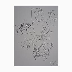 Saint Pierre Marche sur les Eaux Lithographie von Jean Cocteau