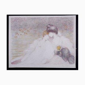 Lithographie Deux jeunes femmes dans un bateau par Louis Ridel