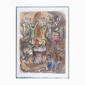 Lithographie The Adoration of the Golden Calf par Marc Chagall, 1966