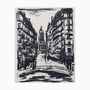 Paris Rue Souflot Lithograph by Maurice de Vlaminck, 1927