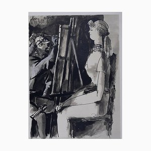 Artist at Easel Lithograph by Pablo Picasso, 1954