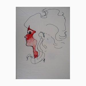 Visage Féminin Drawing by René Gruau