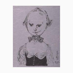 Lithographie Jeune Fille au Bonnet par Tsuguharu Foujita, 1957