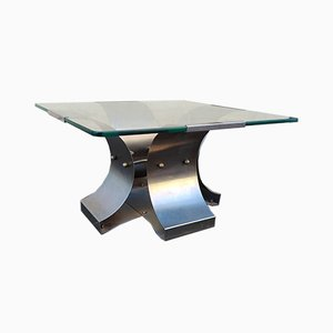 French Steel and Glass Coffee Table by Francois Monnet for Kappa, 1970s