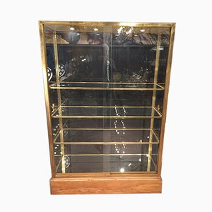 Vintage Brass and Art Glass Cabinet