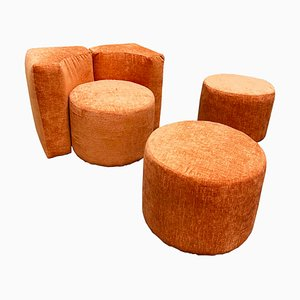 Vintage Modular Lounge Chair and Poufs Set