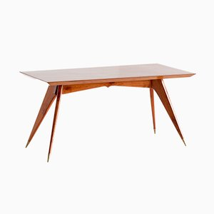 Italian Walnut and Brass Dining Table by Melchiorre Bega, 1950s