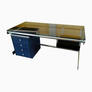 Chromed Iron, Lacquered Wood, and Glass Desk, 1970s