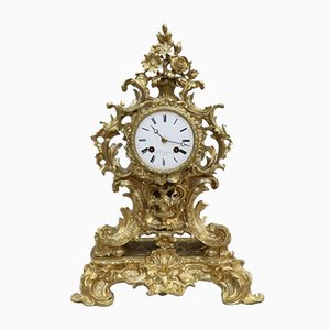 Antique Rococo Style French Gilt Bronze Mantel Clock from Vincenti, 1880s