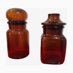 Pots d'Apothicaire Vintage en Verre Ambré, Set de 2
