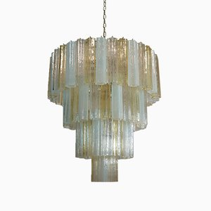 Large Vintage Italian Chrome and Opaline, Amber, and Clear Murano Glass Chandelier, 1980s