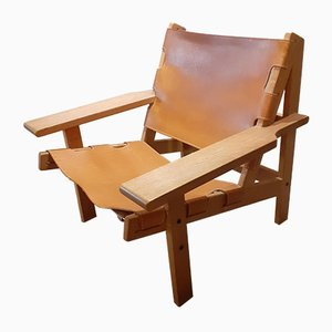 Mid-Century Leather and Oak Safari Chair by Kurt Østervig for KP Møbler, 1960s
