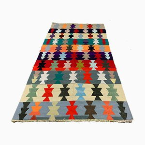 Large Vintage Turkish Wool Kilim Rug