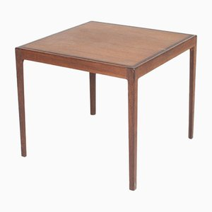 Mid-Century Wenge and Patinated Leather Game Table from Ludvig Pontoppidan, 1950s