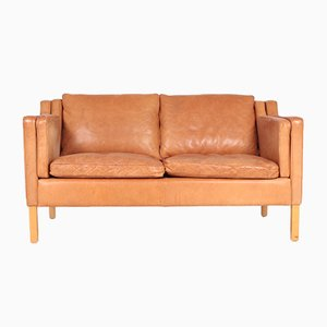 Danish Patinated Leather 2-Seater Sofa from Stouby, 1980s