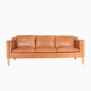 Danish Patinated Leather 3-Seater Sofa from Stouby, 1980s