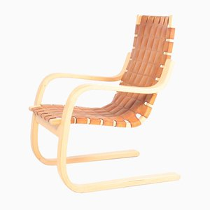 Mid-Century Finnish Patinated Leather Lounge Chair by Alvar Aalto for Artek, 1960s