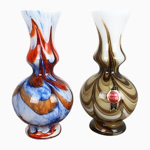 Vintage Italian Vases from Opaline Florence, 1970s, Set of 2