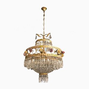 Crystal and Porcelain Chandelier, 1960s