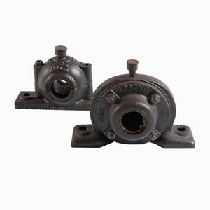 Industrial Cast Metal Bearings, 1920s, Set of 2