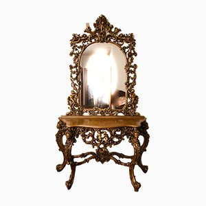 Italian Carved & Gilded Console Table with Mirror, 1960s