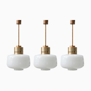 Mid-Century Opaline Glass Pendant Lamps, Set of 3