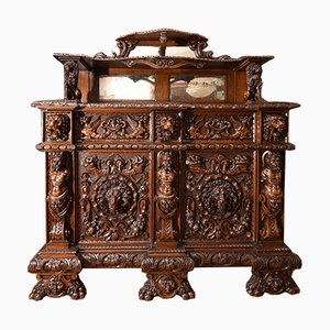 Antique Italian Carved Walnut Sideboard, 1800s