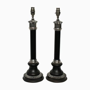 Mid-Century Neo-Classical Style Bronze & Silver-Plated Column Table Lamps, Set of 2