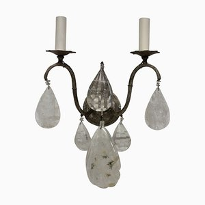 Mid-Century French Rock Crystal Sconces, Set of 2
