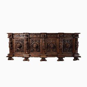 Antikes italienisches geschnitztes & geschnitztes Sideboard aus Nussholz, 1800er